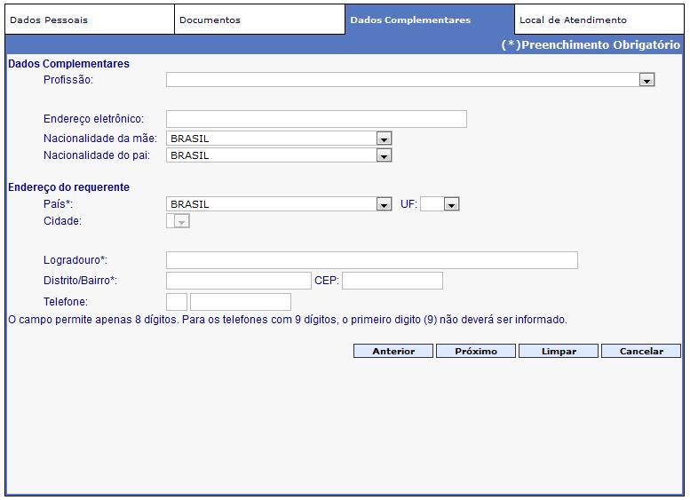Requerer Passaporte - Passo 03 - Dados Complementares