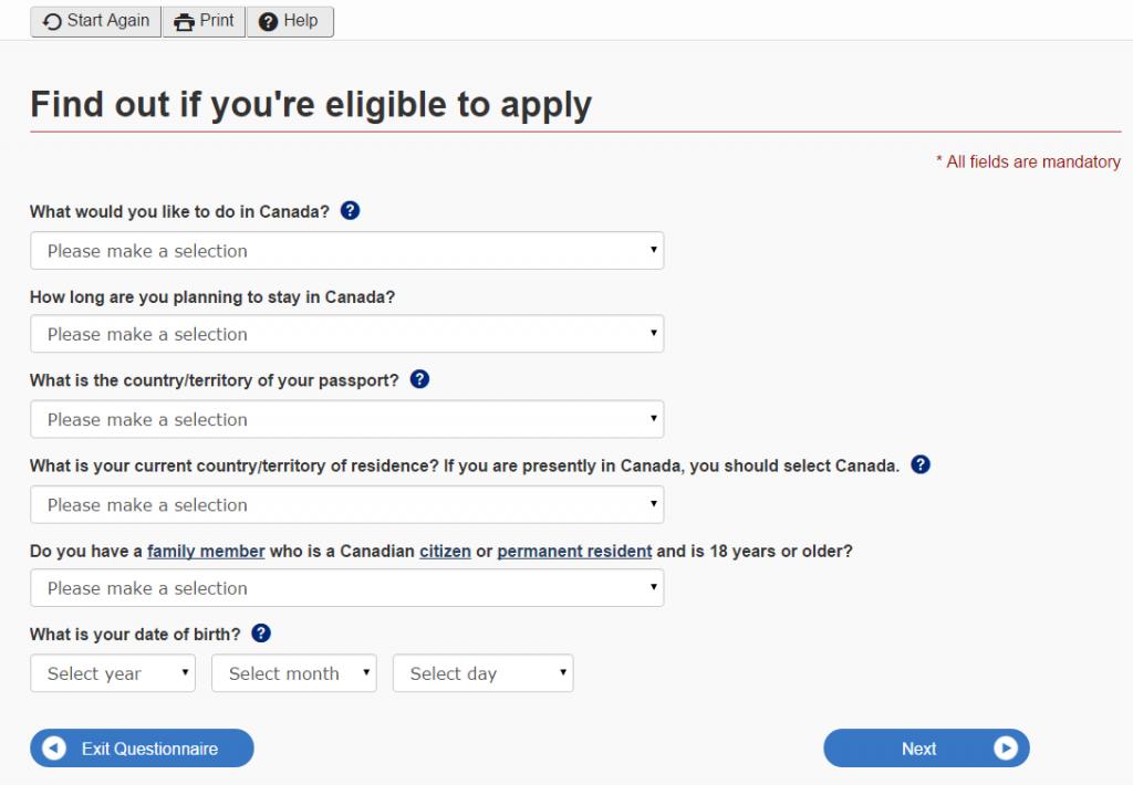 CheckList Form para o Visto Canadense